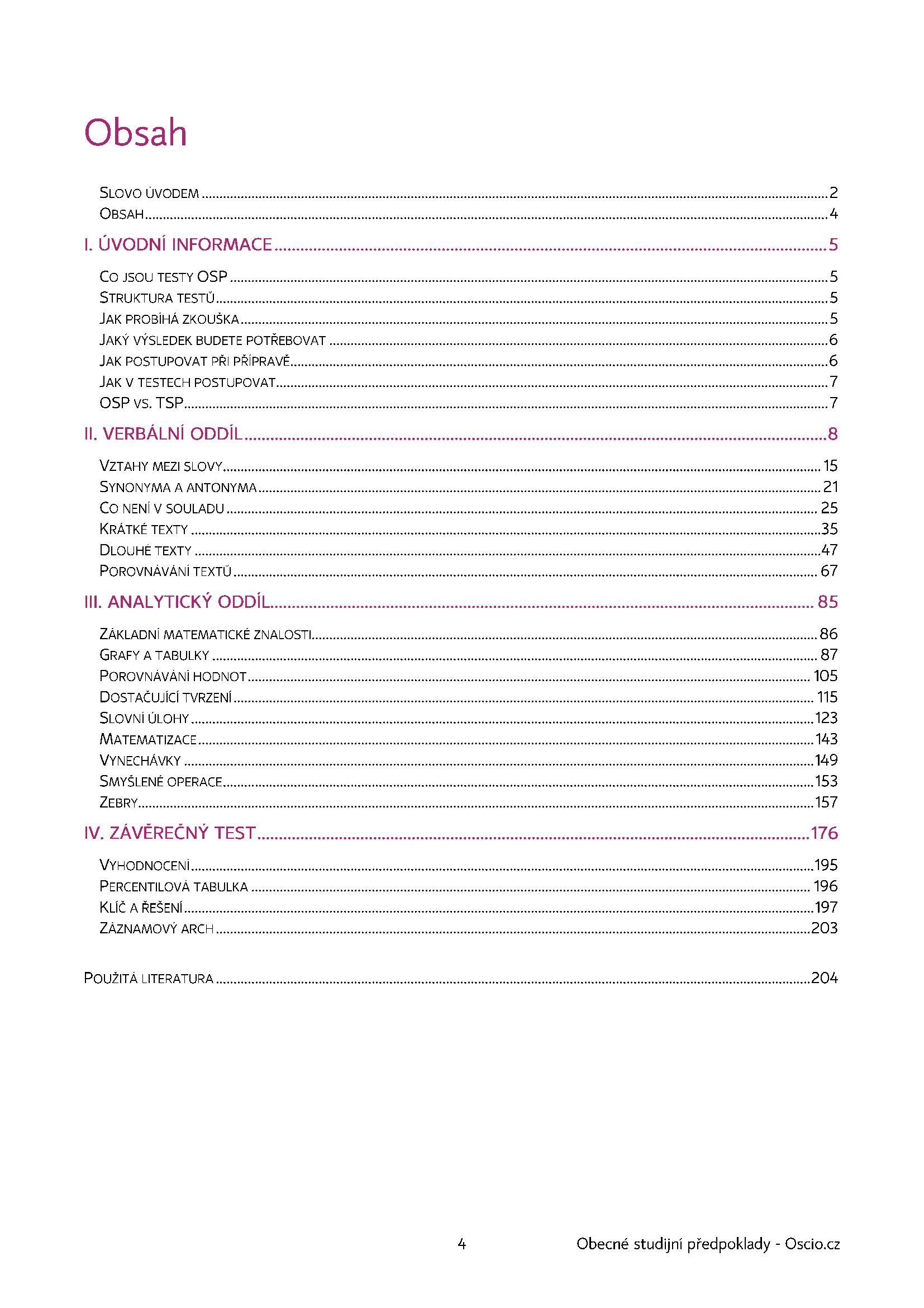 Obsah učebnice na Scio testy OSP